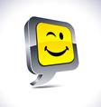 Smiley 3d balloon button vector image vector image