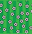 soccer balls on green lawn of football field vector image vector image