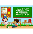 Students learning in the classroom vector image