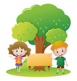 two kids and sign in the park vector image vector image