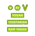 Vegan vegetarian and raw graphic style badges for vector image