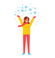 woman snowflakes having fun vector image vector image