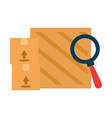 wooden boxes delivery service with magnifying vector image