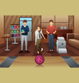 young people playing bowling vector image