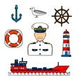 Captain or sailor with nautical objects vector image
