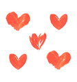 hand painted red hearts grunge brush strokes vector image