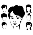Woman Haircut Emblem Set vector image