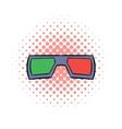 3D glasses comics icon vector image