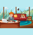 a man working from home vector image