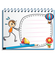 A notebook with a drawing of a boy pushing the vector image vector image
