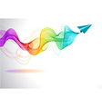 Abstract colorful background with paper air plane vector image vector image