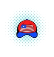 Baseball in the USA flag colors icon comics style vector image