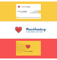 beautiful heart ecg logo and business card vector image