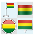 Bolivia flag - sticker button label flagstaff vector image vector image