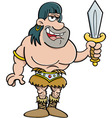 Cartoon barbarian holding a sword vector image vector image