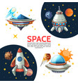 cartoon colorful space poster vector image vector image