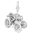 cartoon or comic style of old vintage tractor vector image