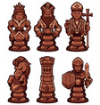 chess pieces set black vector image vector image