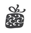 christmas giftbox icon silhouette simple vector image