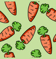 colorful cartoon carrot doodle pattern vector image