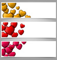 Colorful love paper banners with heart bubbles vector image
