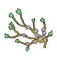 comic cartoon flowering branch vector image vector image