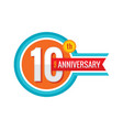 creative emblem 10 th years anniversary five vector image