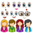 Expressions and faces vector image vector image