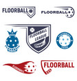 floorball logo for team and cup vector image vector image