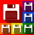 floppy disk sign set of icons with flat vector image