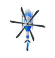 flying white and blue helicopter view from above vector image vector image