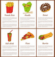 french fries and noodles set vector image vector image
