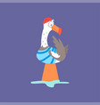 funny seagull sitting on a marine buoy cute comic vector image