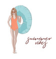 girl with inflatable ring summer vector image