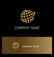 globe sphere digital technology gold logo vector image vector image