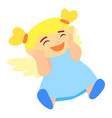 happy angel girl icon cartoon style vector image