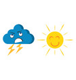 happy cheerful sun and angry cloud vector image vector image