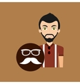 hipster style character glasses and fashion vector image vector image