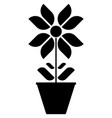 image of black and white flower icons in a pot on vector image vector image
