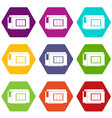 inkjet printer cartridge icon set color hexahedron vector image vector image