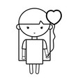 line beauty girl with heart balloons and hairstyle vector image vector image