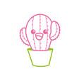 line kawaii cute tender cactus plant vector image vector image
