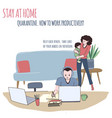 man works at home woman is cuddling a baby vector image vector image