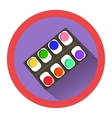 modern flat icon with watercolor set and shadow vector image vector image