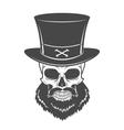 Outlaw skull with beard and high hat portrait vector image