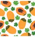 papaya fruits and half seamless pattern on white vector image vector image