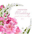 peony flowers and lily of the valley bouquet vector image