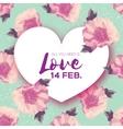 Peony Flowers Heart frame 14 february Happy vector image