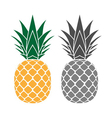 Pineapple yellow gray icons set