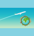 plane flying in sky with green planet vector image vector image